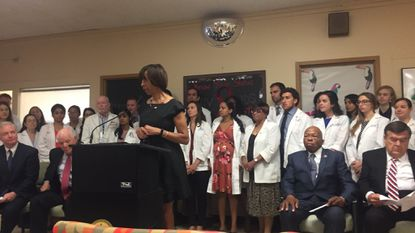 Mayor Catherine Pugh and Baltimore's congressional delegation on Monday denounced potential federal cuts to health centers that perform abortions or are affiliated with those who do.