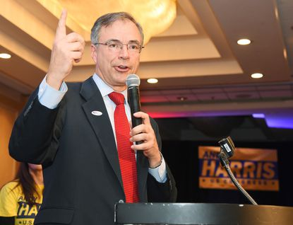 U.S. Congressman Andy Harris gives remarks after winning his re-election. Republicans watch the 2016 Presidential, Senate and Congressional election results come in at a Maryland GOP Victory Party at the BWI Marriott.