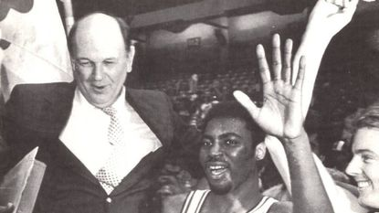Maryland coach Lefty Driesell and Ben Coleman celebrate Maryland's ACC championship after the Terps defeated Duke in March 1984 by a score of 74-62.
