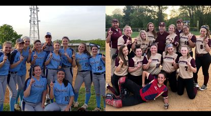 Howard, left, and Hammond, right, each pose for photos after winning their respective games on Thursday, May 3 to secure a piece of the 2019 Howard County softball championship.