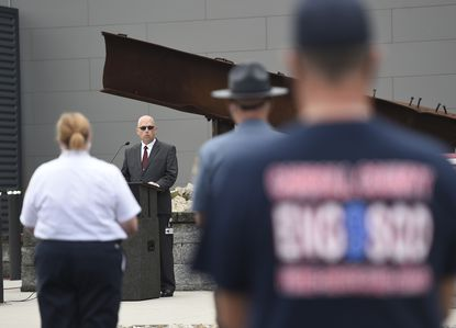 Carroll County Department of Fire and Emergency Services Director Robert H. McCoy, Jr. speaks during a 9/11 Remembrance at the Carroll County 911 Memorial at the Public Safety Training Center Friday, Sept. 11, 2020.