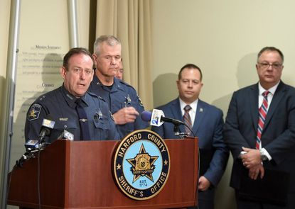 """Harford County Sheriff Jeffrey Gahler speaks about the alleged racial profiling by a deputy during press conference Tuesday at the Sheriff's Office Southern Pricinct. Gahler said the investigation found the accusations of bias were """"unfounded."""""""