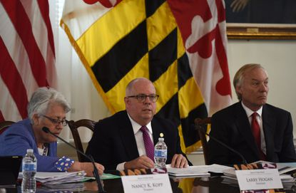 The Maryland Board of Public Works which comprises Gov. Larry Hogan, center, Treasurer Nancy Kopp, left, and Comptroller Peter Franchot will be meeting on Wednesday, July 1 to consider $672 million in reductions to the state budget. Washington Post photo by Michael Robinson Chavez.