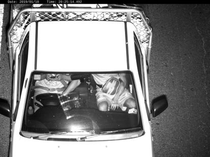 This Jan. 18, 2019, photo captured by a Mobile Phone Detection Camera and released by Transport for NSW shows a driver using a mobile phone while driving in Australia. Australian state New South Wales is attempting to persuade the public to put down their smartphones while driving by rolling out cameras to prosecute distracted motorists.