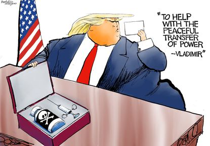 """Bill Bramhall's editorial cartoon for Sept. 25, 2020: """"To help with the peaceful transfer of power – Vladimir."""""""