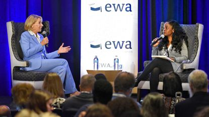 U.S. Education Secretary Betsy DeVos, left, answers questions from New York Times national education reporter, Erica Green, right, after giving the keynote address on the first day of the Education Writers Association three-day conference at the Renaissance Harborplace Hotel.