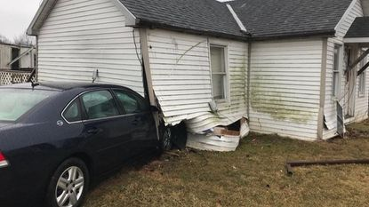 A car crashed into a house around 11:30 a.m. Sunday after the driver suffered a medical emergency in the 3400 block of Conowingo Road in Dublin, according to Maryland State Police.