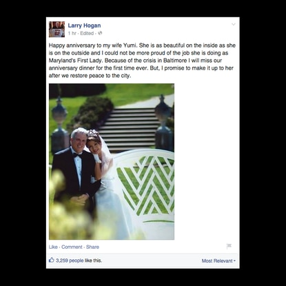 Gov. Hogan posts about missing anniversary dinner