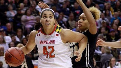Maryland center Brionna Jones (42) moves past Purdue forward Ae'Reianna Harris during the first half of an NCAA college basketball game in the finals of the Big 10 conference tournament, Sunday, March 5, 2017, in Indianapolis.