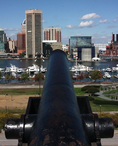 Overlooking the Baltimore harbor from Federal Hill.