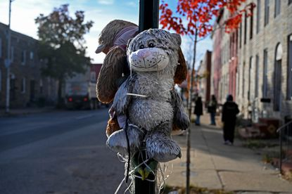 Stuffed animals hang as a memorial to Edward Calloway, who was fatally shot on the corner of Monroe and McHenry Streets in southwest Baltimore. Two people were killed on the same corner in November, marking the city's 299th and 300th homicide for 2019.