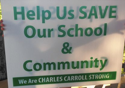 Yard signs like this one can be found throughout the Silver Run/Union Mills community, where parents have begun a campaign to save their community elementary school Charles Carroll.