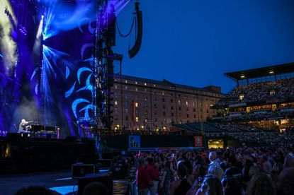 """Billy Joel performs """"The Entertainer."""" Billy Joel performed at Camden Yards Friday night; it was the first time a concert has been performed at the Orioles ballpark."""
