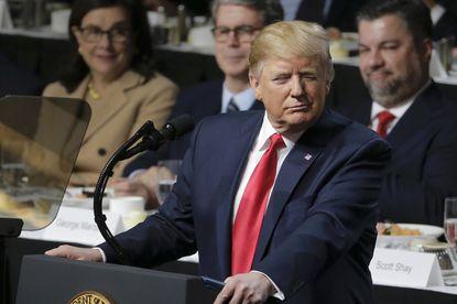 President Donald Trump addresses the Economic Club of New York on November 12 in New York City.