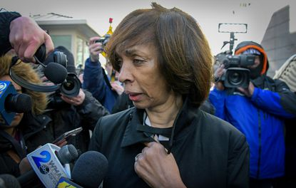 Former Baltimore Mayor Catherine Pugh, leaving the federal courthouse in downtown Baltimore in February, 2020 after being sentenced to three years in prison. Federal prosecutors said this week they were building their own criminal case as The Sun produced stories that uncovered a range of schemes that helped push her from office.