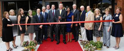 From left: Sharon Alaimo; Lynne Young; Joyce Flatau; Mary Jo O'Connell; Milton Greenbaum; Charles Castoro; Tucker McNulty; Ronald Peterson; Peter J. McDonnell; Richard Thomas; Adrienne W. Scott; Wayne Parris; Robert Reier; Robin Sommer, Susan Burdette and Donna Vierheller celebrate the opening of two new Wilmer Eye Institutes, in Bel Air and Havre de Grace.