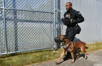 A Secret Service canine and his handler arrive for a demonstration to celebrate the opening of the James T. Maloney Canine Training Facility at the J. Rowley Training Center, in Laurel on Sept.12, 2019. (Photo by MANDEL NGAN/AFP/Getty Images)