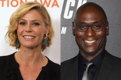 Julie Bowen in 2018, left, and Lance Reddick in 2019