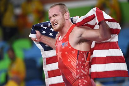 Woodbine native Kyle Snyder, shown celebrating after winning the 97kg freestyle wrestling gold medal match on August 21, 2016, secured a spot in the 2021 Tokyo Olympics by winning the U.S. Olympic trials Saturday night in Fort Worth, Texas.
