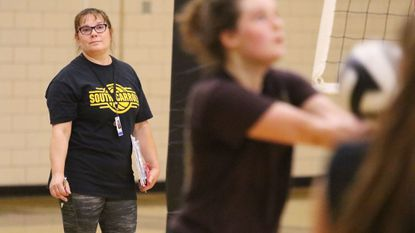 South Carroll volleyball coach Stacy Trivett during practice at the school Monday in Winfield.