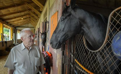 Legendary Maryland horse trainer King Leatherbury and Ben's Cat at Laurel Park on July 29, 2015.