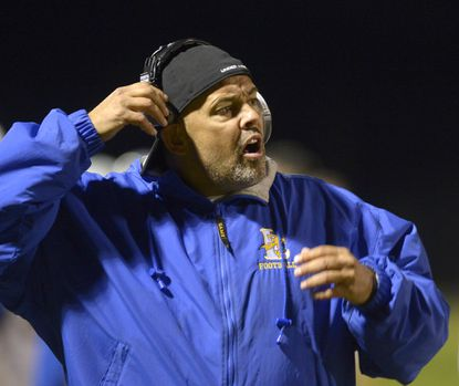 Liberty head coach Larry Luthe looks on during the first half of their game in Manchester Friday, October 19, 2018. Luthe's Lions will take on Tim Cullen's Glenelg Gladiators in the second round of the MPSSAA Class 2A West playoffs. Luthe was Cullen's offensive line coach at Hammond in the 1990s.