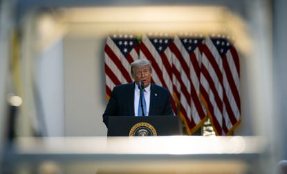 President Donald Trump addresses a news conference about the coronavirus, in the Rose Garden of the White House in Washington, Wednesday.