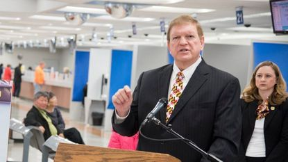 Maryland's transportation secretary, Pete Rahn, is leaving his position, Gov. Larry Hogan announced Monday. In this file photo, Rahn speaks about drivers' licenses at a Motor Vehicle Administration office in Annapolis.