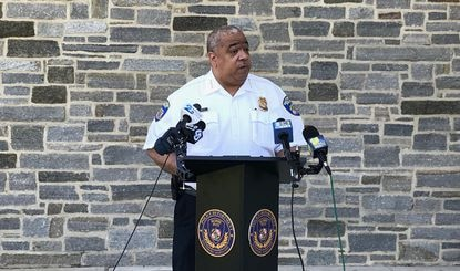Baltimore police commissioner Michael Harrison addresses reporters at a press conference Monday to discuss violence over Memorial Day weekend.