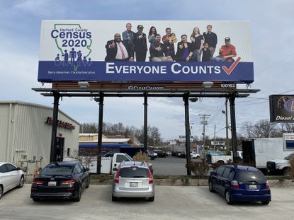 A billboard on Route 40 in Joppa reminds Harford County residents to respond to the 2020 U.S. Census.