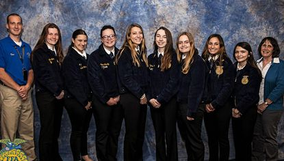 The Liberty High FFA Chapter is pictured, from left: Liberty FFA Advisor Tom Diffendal, Maddie Bohr, Hannah Watkins, Ally Murphy, Lilly Rainey, Meghan Verill, Victoria Mascia, Gabby Kostadinov, Caroline Swann, and former Liberty FFA Advisor Clare Linfield.