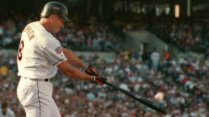 Cal Ripken Jr., hits a leadoff home run to left field in the fourth inning off Kansas City Royals right-hander Kevin Appier to give the Orioles a 1-0 lead in the 1997 season opener at Camden Yards.
