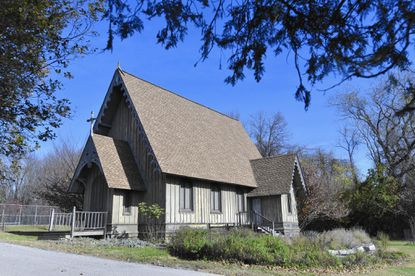 The old wooden Gothic chapel in Leakin Park.