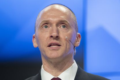 Carter Page, a former foreign policy adviser to Donald J. Trump's presidential campaign, speaks at a news conference in Moscow on April 12, 2016.