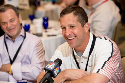 John Harbaugh speaks to reporters at the league meetings in Orlando.