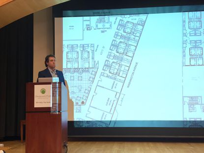 Developer Mark Manzo speaks last December at a community input meeting for 706 Washington Ave., a proposed student housing project in Towson.