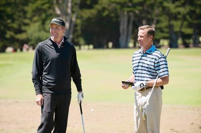 David Hutsell and Michael Breed relax Sunday during The Golf Fix for the 45th PGA Professional National Championship, held in June 2012 at Bayonet Black Horse in Seaside, Calif.