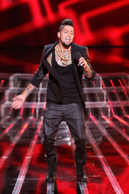 "David Correy performs live on ""X Factor."""