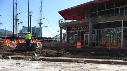 Workmen clear vegetation by Harborplace for trail