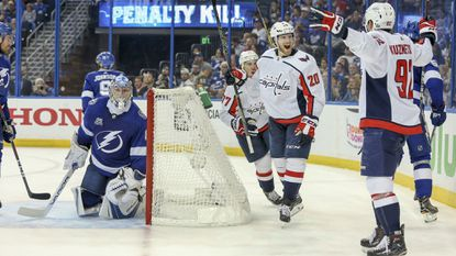 Tampa Bay Lightning goaltender Andrei Vasilevskiy (88) looks on as the Washington Capitals celebrate a goal by Washington Capitals center Evgeny Kuznetsov (92) during the second period of Game 2 of the Eastern Conference finals during the Stanley Cup playoffs.