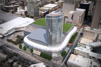 A rendering of a hotel, arena and convention center proposed for downtown Baltimore.