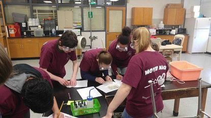 Baltimore County Public Schools students compete in Paranormal Reactivity, a movie-themed STEM challenge, as part of the 30th annual Baltimore County Public Schools Physics Olympics and 5th annual Chemathon on Feb. 24, 2018.