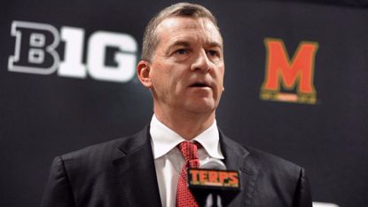Maryland men's basketball head coach Mark Turgeon speaks to sports media during media day in 2016 at Xfinity Center.