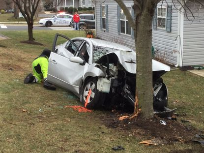 A 58-year-old Baltimore woman died after this crash Monday in Laurel. She was a pasenger in the vehicle. The driver remained in critical condition Wednesday, police said.