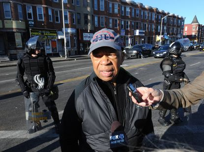 Rep. Elijah Cummings visits North Ave. and Pennsylvania Ave. the day after riots broke out throughout Baltimore.