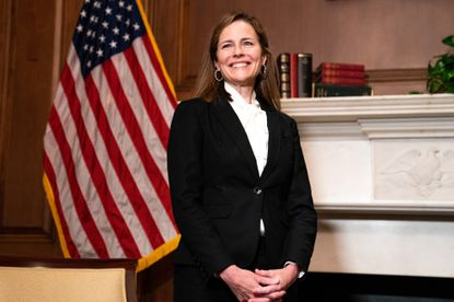 Judge Amy Coney Barrett, President Donald Trump's nominee for Supreme Court, during a meeting with Sen. Steve Daines (R-Mont.) at the Capitol in Washington, Thursday, Oct. 1, 2020.