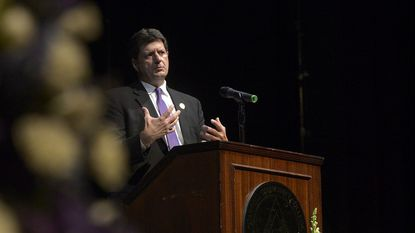 Carroll County State's Attorney Brian DeLeonardo speaks during the fourth annual Drug Overdose and Prevention Vigil at Carroll Community College in Westminster on May 22, 2018.