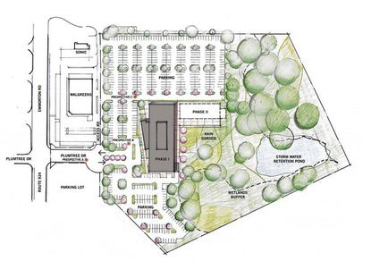 A layout schematic of the site for MedStar Health's proposed new health care building at Route 924 and Plumtree Road in the Bel Air South community.