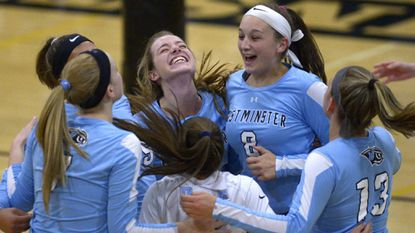 Westminster players celebrate their win over Winters Mill in Westminster Thursday, Oct. 18, 2018.