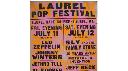 A poster for the 1969 Laurel Pop Festival promoted a lineup that included such heavy hitters as Led Zeppelin and Sly and the Family Stone.